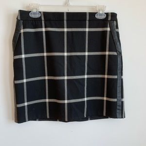 Mango Suit Mini Plaid Skirt Black Grey Size 8